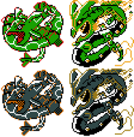 Rayquaza Mega Rayquaza GSC Sprites by Axel-Comics