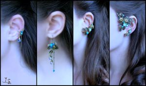 Earrings and ear cuffs from the Buhkara set by JSjewelry