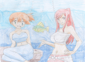Misty and Erza underwater (coloured) by Serenity93