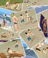 Yu-Gi-Oh Sims - on the beach by AkaneCat