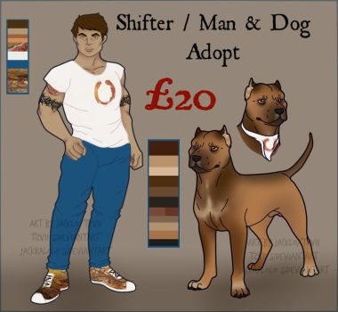 (OPEN) Shifter or Man + Dog flat sale adopt collab by Jackralolo