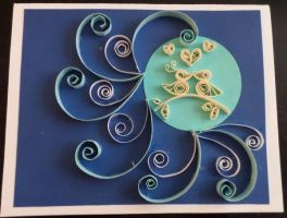 Quilled Card of two birds in love by staceysmile
