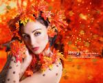 Autumn Lady - Animation Falling Leaves by Jassy2012
