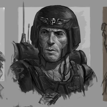 Imperial Guardsman Portrait Sketch by HarryOsborn-Art