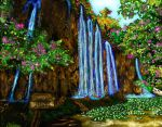 Imaginary Waterfall Landscape by MOONGODDESSEVE
