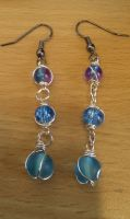 Blue chainlink earrings by Darla-Illara