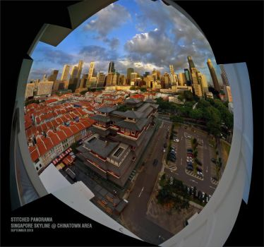 Singapore Stitched Skyline03 by clarenceangelo