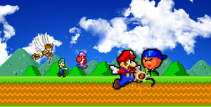 Mario, Luigi and Pit vs. Faisal and GMG by KingAsylus91