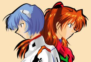 Rei And Asuka by puruno