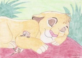 Simba and Timon...sleeping time by Moonwolflove