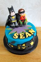 Batman and Robin cake by zoesfancycakes