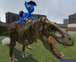 Me on a T-Rex (garry's mod) by CobaltBrony