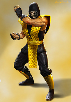 MK9 Klassic Scorpion with a painted human face by SqueakyMarshmallow