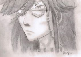 Grell Sutcliff pondering- no eraser- all pencil by jashinist112
