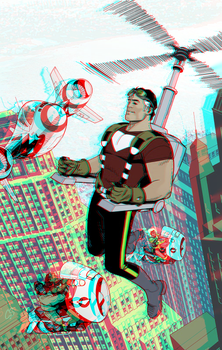 Tom Strong in 3D Anaglyph by xmancyclops