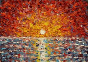 Impasto Sunset Study by IvanRadev