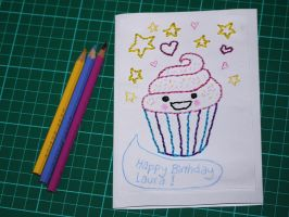 embroidered birthday card by Blue-eyed-Kelpie