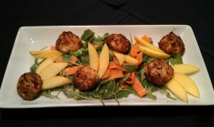 Crab Ball and Nectarine Salad by PrYmO-ART