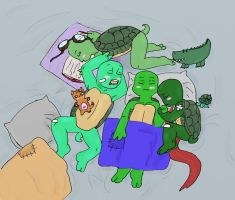 TMNTContests Sleep- Turtle pile by IllyDragonfly