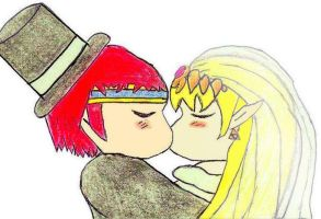 Zelda and Roy's Wedding Kiss by Loser7497