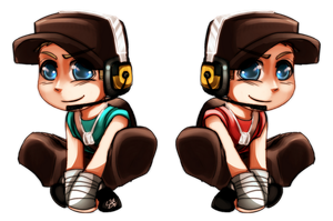 TF2: RED + BLU chibi SCOUTS by DarkLitria