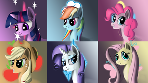 Mane 6 Wallpaper sized thingy by Alorpax