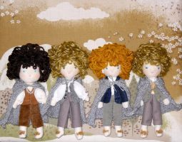 Frodo Sam Pippin and Merry Waldorf Dolls by LilliamSlasher