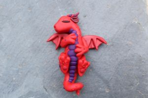Red Sleeping Polymer Clay Baby Dragon by RaLaJessR