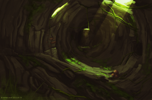 Root tunnels - Speedpaint/Concept art by Adrian-Drott
