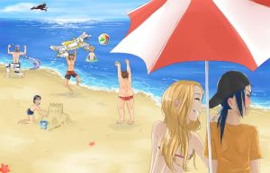 Digimon frontier at the beach by Yvanya