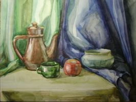 Still life with blue and green drape. by Mirallisa