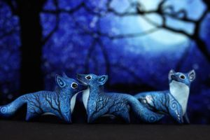 Foxes in the forest of Moon Wanderers by hontor