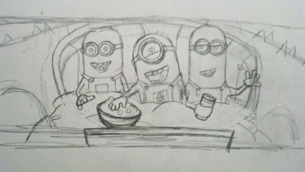 Minion Movie Time - Original Sketch by beachrain