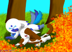 Having fun in the leaves by Hawkpelt22