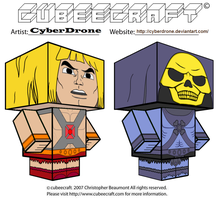 Cubeecraft- He-Man and Skeletor by CyberDrone