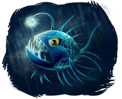 Deep sea fish by Adlynh