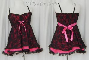 pink lace top by funkyfunnybone
