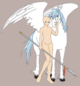 Girl with pegasus All detail version by Legendary-bases