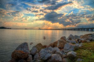 Sunrise view of Penang bridge by fighteden