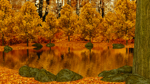 Autumn Forest Pond by Shroomworks