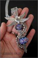 Purple wings pendant by Faeriedivine