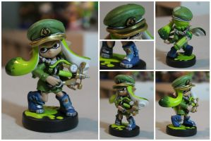 Custom Inkling Amiibo #29 | LimeGreen Inkling Girl by PixelCollie