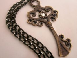 Antique Key Necklace by FantasyDesigns1