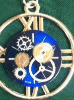 Blue Dial Watch Steampunk Pendant by Drkldysebastina