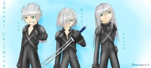 Silver haired chibi trio by Demoneyes14