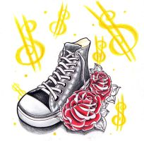 Converse All Stars with roses by jerrrroen