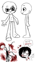 .:Random:. My cartoon style? + Slenderman and Jeff by SilverfanNumberONE