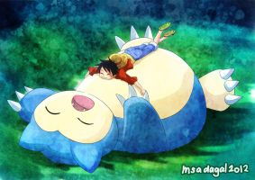 OP x PKMN: Sleeping on Snorlax