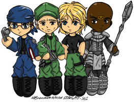 Star Gate SG1 Chibis coloured by SilverXenomorph
