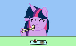 Twilight Sparkle eating sushi by dev-catscratch